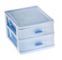 Пластиковый мини-комод для хранения мелочей, 2 ящика, голубой
