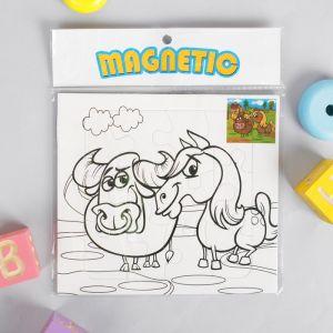 Раскраска - пазл магнитная «Бык и лошадь», 12 деталей, 3 фломастера