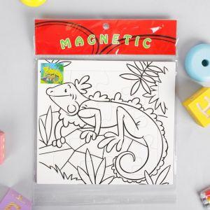 Раскраска - пазл магнитная «Игуана», 12 деталей, 3 фломастера