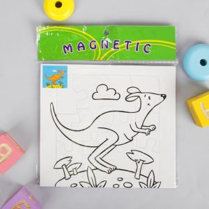 Раскраска - пазл магнитная «Кенгуру», 12 деталей, 3 фломастера