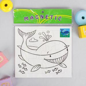 Раскраска - пазл магнитная «Кит», 12 деталей, 3 фломастера