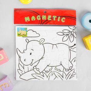 Раскраска - пазл магнитная «Носорог», 12 деталей, 3 фломастера