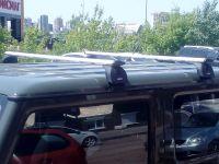 Багажник на крышу Suzuki Jimny 2018-..., с водостоками, Lux, крыловидные дуги (82 мм)