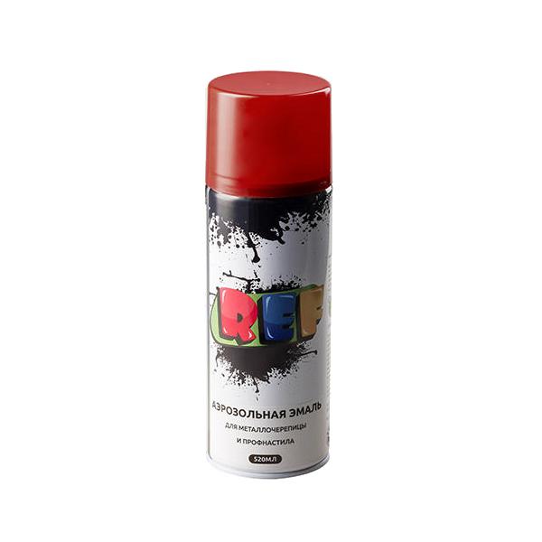 """REF Аэрозольная эмаль для металлочерепицы и профнастила RAL Professional, название цвета """"Винно-красный"""", RAL3005, глянцевая, объем 520мл."""