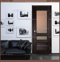 Межкомнатная дверь  CLASSICO 3V Остекленное Дуб Черный, стекло - Ромб бронза :