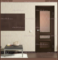 Межкомнатная дверь  CLASSICO 3V Остекленное Мокка, стекло - Ромб бронза :