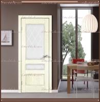 Межкомнатная дверь  CLASSICO 3V Остекленное Слоновая кость, стекло - Ромб :