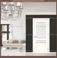 Межкомнатная дверь  CLASSICO 3V Остекленное Ясень Белый, стекло - Ромб :