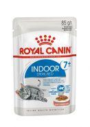 Royal Canin Indoor Sterilised 7+ Влажный корм для стареющих кошек, постоянно живущих в помещении (кусочки в соусе), 85 гр