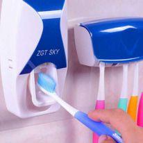 Автоматический дозатор зубной пасты + держатель для щёток, синий