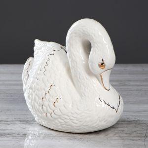 """Копилка """"Лебедь"""", роспись золотистая, 19 см , микс"""