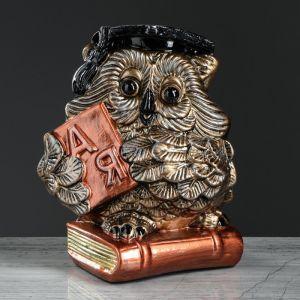 """Копилка """"Сова на книге"""", коричневый цвет, 25 см,"""