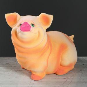 """Копилка """"Свинка Нюся №1"""", флок, розовый цвет, 24 см"""