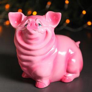 """Копилка """"Свинка Нюся"""", глянец, розовый цвет, 23 см"""