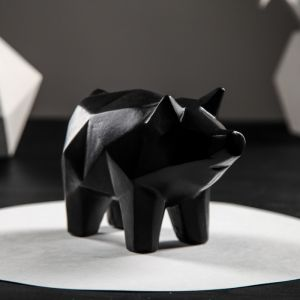 """Копилка """"Свинка оригами"""", акрил, чёрный цвет, 13,5 см"""