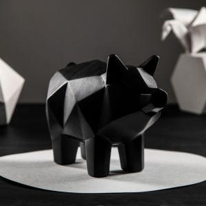 """Копилка """"Свинка оригами"""", акрил, чёрный цвет, 18 см"""