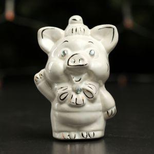 """Копилка """"Свинка Пупсик"""", глянец, белый цвет, 11,5 см"""
