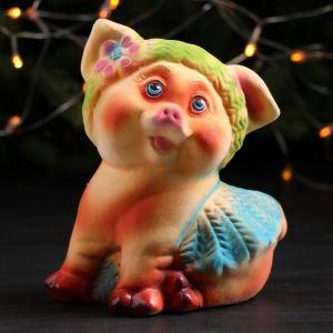 "Копилка ""Свинка Рюшечка"", флок, разноцветная, 18 см, микс"