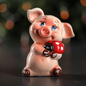 """Копилка """"Свинка с божьей коровкой"""", глянец, розовый цвет, 12,5 см"""