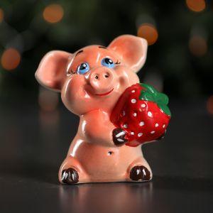 """Копилка """"Свинка с клубникой"""", розовый цвет, 11 см"""