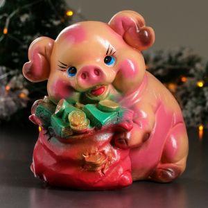 """Копилка """"Свинка с мешком"""", глянец, розовый цвет, 25,5 см"""