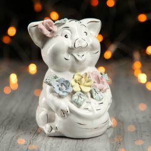 """Копилка """"Свинка с монетами"""", глянец, белый цвет, 14 см"""