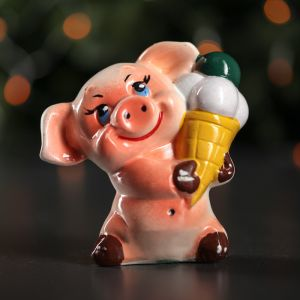 """Копилка """"Свинка с мороженным"""", розовый цвет, 14 см"""