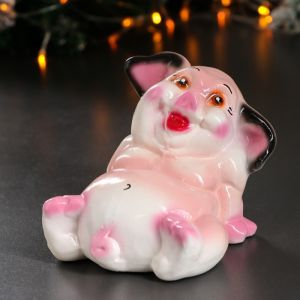"""Копилка """"Свинка толстопуз"""", глянец, бежевый цвет, 8 см"""