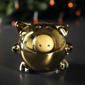 """Копилка """"Свинка"""", глазурь, золотистый цвет, 13,5 см"""