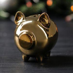 """Копилка """"Свинка"""", золотистый цвет, 10 см"""