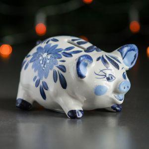 "Копилка ""Свинка"", белый, синий цвет, 8 см, микс"
