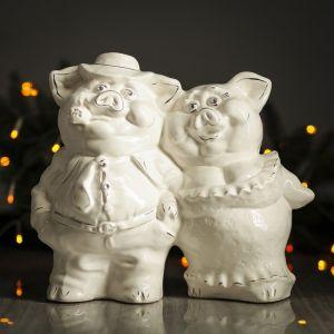 """Копилка """"Свинки пара"""", глянец, белый цвет, 26 см"""