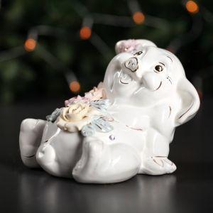 """Копилка """"Свинья Толстопуз"""", глянец, белый цвет, 13 см"""