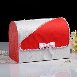 Коробка для денег «Алина», бело-красная, неразборная 3041952