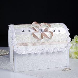 Коробка для денег «Анта» №1, бело-бежевая, разборная 3183855