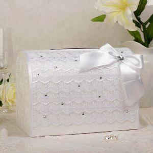Коробка для денег «Кружево+стразы», белая, неразборная 3041966