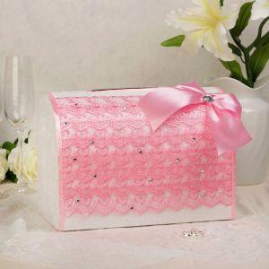 Коробка для денег «Кружево+стразы», розовая, неразборная 3041971