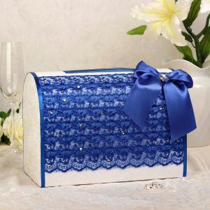 Коробка для денег «Кружево+стразы», синяя, неразборная 3041972