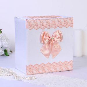 Коробка для денег «Семейный банк» с персиковым кружевом