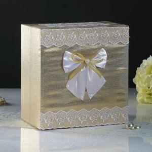Коробка для денег «Семейный банк», парча, золотая