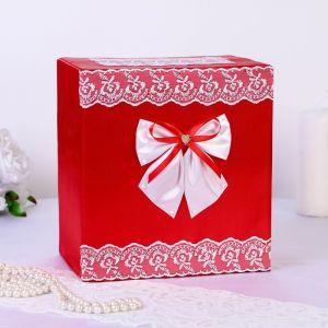 Коробка для денег «Семейный банк», парча, красная
