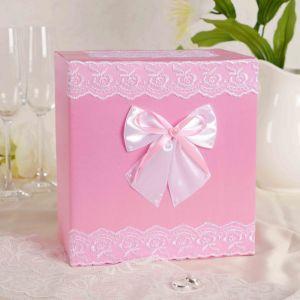 Коробка для денег «Молодожёны», парча, розовая