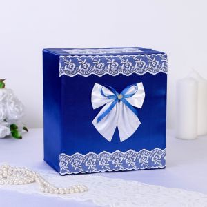Коробка для денег «Семейный банк», парча, синяя