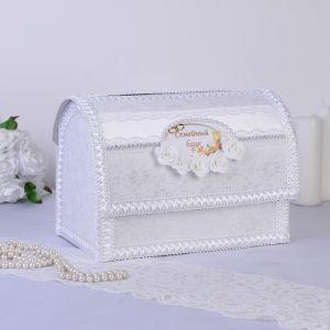 """Семейный банк """"Сундучок"""" с надписью, элит, открывающийся, белый 3780909"""