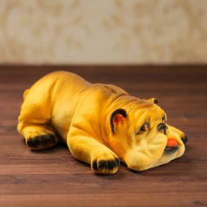 """Копилка """"Бульдог ленивец"""", флок, жёлтый цвет, 10 см"""