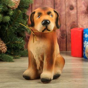 "Копилка ""Собака Бобик"", флок, коричневый цвет, 23 см"