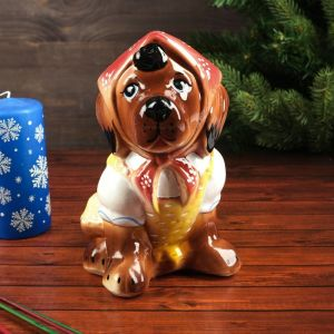 """Копилка """"Собака в косынке"""", коричневый цвет, 21 см"""