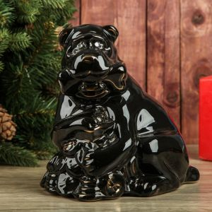 "Копилка ""Собака на монетах"", глянец, чёрный цвет, 22 см"