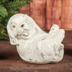"""Копилка """"Собака на спине"""", глянец, белый цвет, 11 см"""