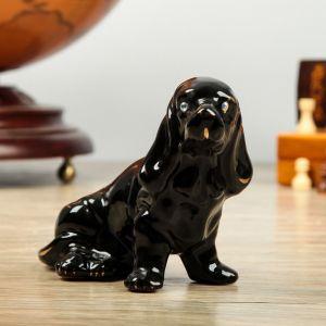 """Копилка """"Собака Охотничья"""", глянец, чёрный, керамика"""